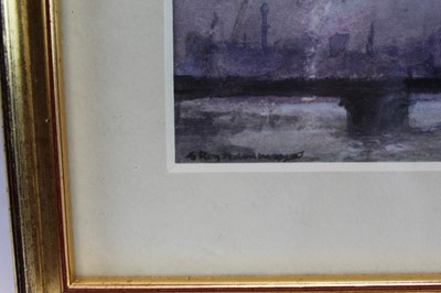 Lot 1832 - Roy Hammond (b.1934) watercolour - Cannon Street and St Paul's from the Thames, signed, in glazed gilt frame  Provenance: Chris Beetles Gallery