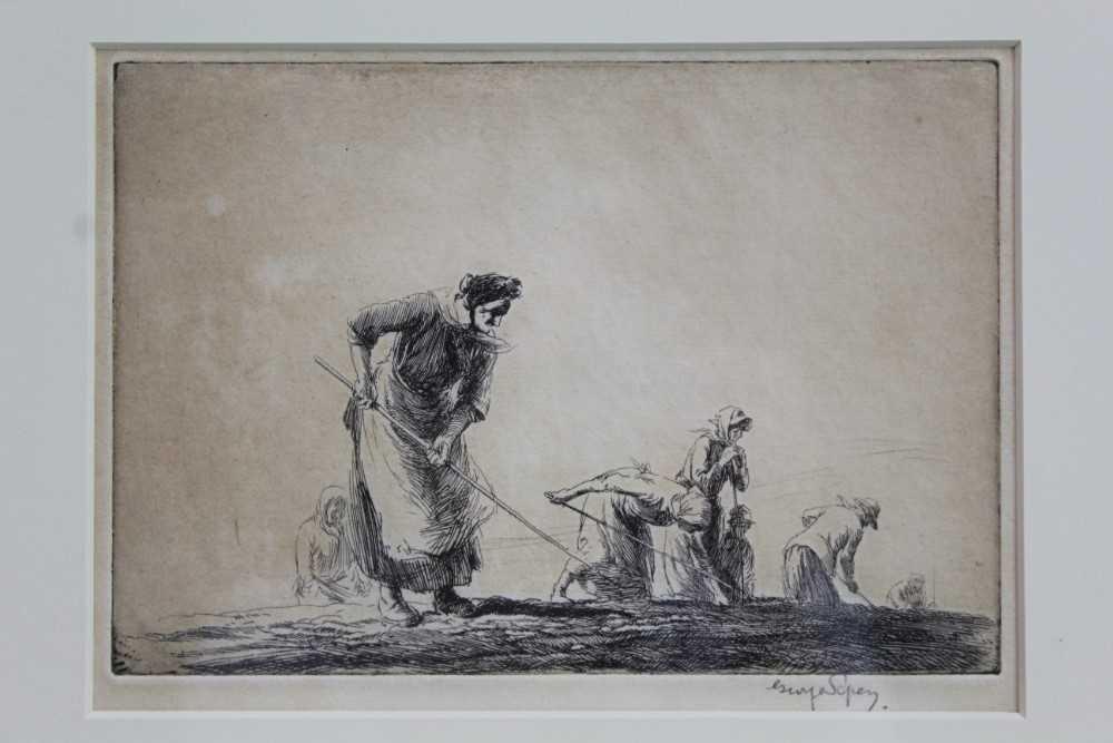 Lot 1704 - George Soper (1870-1942) signed etching - Women Hoeing, in glazed gilt frame  Provenance: Chris Beetles Gallery