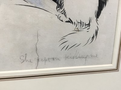 "Lot 1812 - Louis Wain (1860-1939) pen and ink - ""She kept on kissing me"", signed, in glazed gilt frame (paper torn)  Provenance: Chris Beetles Gallery"