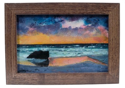 Lot 1716 - *Keith Grant (b.1930) acrylic on board - The Boulder and the Sea, signed and dated '11, in glazed frame  Provenance: Chris Beetles Gallery
