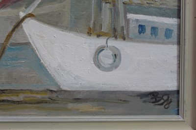 Lot 1803 - Late 20th century English School oil on canvas - moored boats, initialled and dated '98, framed