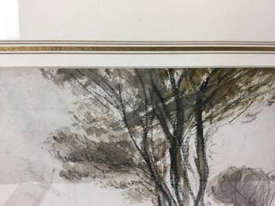 Lot 1820 - Thomas Churchyard (1798-1865) charcoal and watercolour - The House by the Trees, in glazed gilt frame  Provenance: Chris Beetles Gallery
