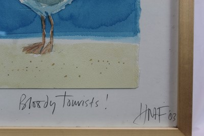 Lot 1851 - Hugh Fairfax watercolour - Bloody Tourists, signed, dated '03, in glazed frame  Provenance: Thompson's Aldeburgh