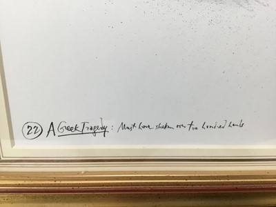 """Lot 1845 - *Ronald Searle (1920-2011) pen, ink and watercolour - """"Must have shaken over two hundred hands"""", inscribed, in glazed gilt frame"""
