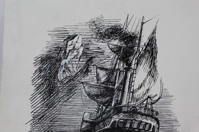 Lot 1863 - Phyllis Ginger (1907-2005) pen and ink drawing - The Paddle Steamer, unframed  Provenance: Chris Beetles Gallery
