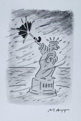 Lot 1783 - Matt, (Matt Pritchett b.1964) pen, ink and monochrome watercolour – Statue of Liberty, signed, in glazed gilt frame  Provenance: Chris Beetles Gallery