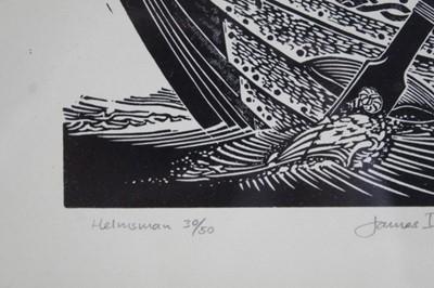 Lot 1753 - *James Dodds (b.1957) signed limited linocut - Helmsman, 30/50, in glazed frame