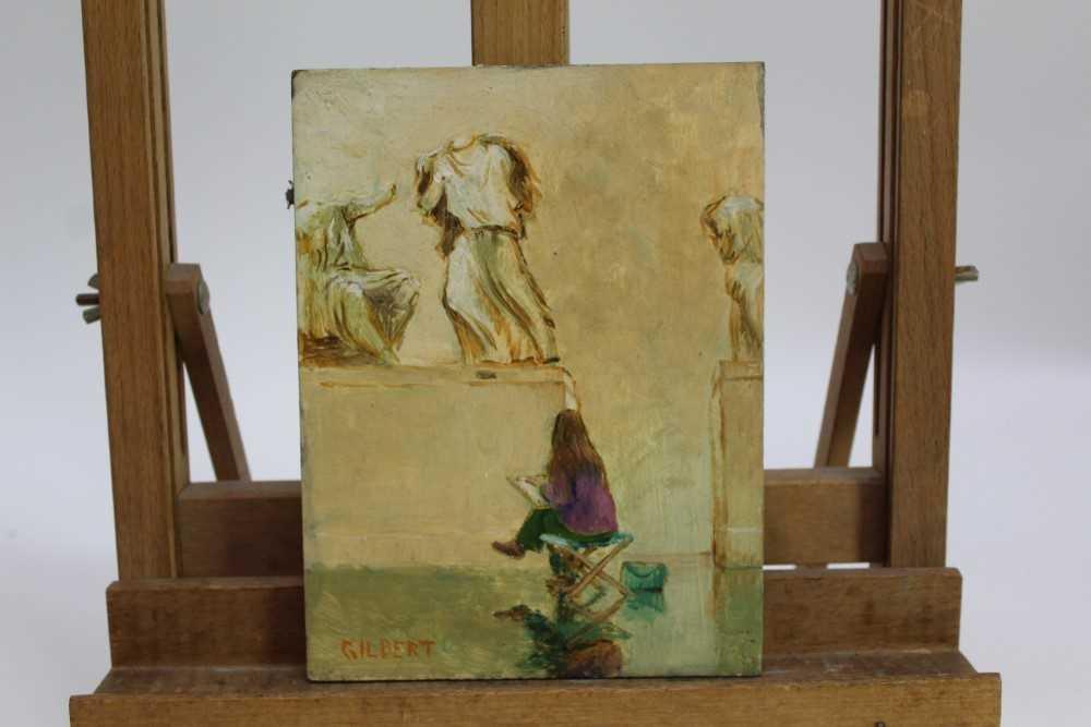 Lot 1876 - Dennis Gilbert (b.1922) oil on board - figure sketching, signed, unframed