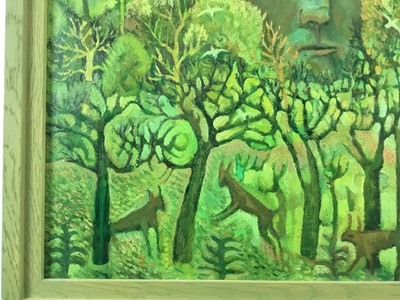 Lot 1802 - John W Farrington (b.1933) oil on board - The Giant in the Forest II, signed and dated '99, framed  Provenance: Goldmark Gallery