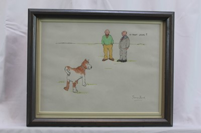 """Lot 1752 - Simon Bond (1947-2011) pen, ink and crayon cartoon - """"Is That Legal?"""", signed, in glazed frame  Provenance: Chris Beetles Gallery, London"""