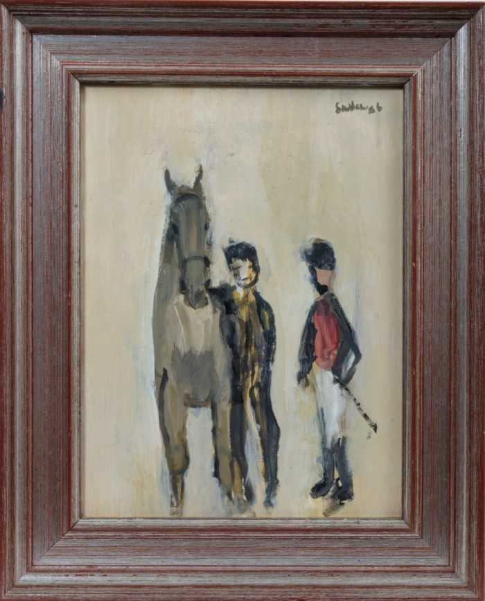 Lot 1798 - *Robert Sadler (1909-2001) acrylic on board - horse and figures, signed and dated '86, framed  Provenance: Studio Exhibition 1987