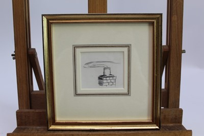 Lot 1709 - Eileen Soper (1905-1990) pen and ink drawing - Chimney Pot, together with an etching - Xmas Greetings 1921, in glazed gilt frames  Provenance: Chris Beetles Gallery