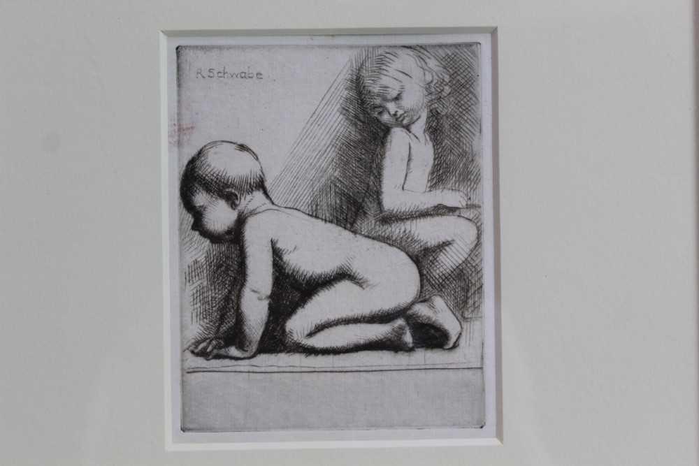 Lot 1887 - Randolph Schwabe (1885-1948) etching - Two Children, in glazed gilt frame