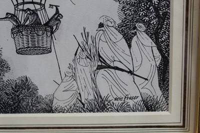 Lot 1830 - Eric Fraser (1902-1983) pen and ink on board - Five Weeks in a Balloon, signed, in glazed gilt frame  Provenance: Chris Beetles Gallery, London