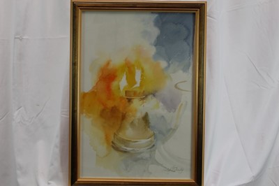 Lot 1807 - Lesley Fotherby (b.1946) watercolour - Whitechapel Bell Foundry, together with another watercolour and cut paper picture - Horns and Ribbons, both in glazed gilt frames