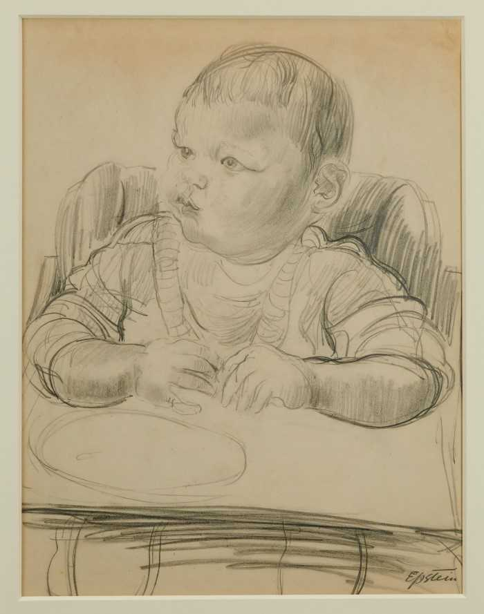 Lot 1817 - *Jacob Epstein (1880-1959) pencil - Jackie in High Chair, signed, in glazed gilt frame