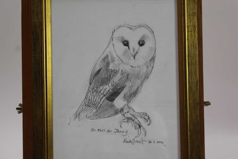Lot 1724 - *Keith Grant (b.1930) two sketches of Owls, with dedications to Jenny, dated 2012 and 2014, in glazed gilt frames