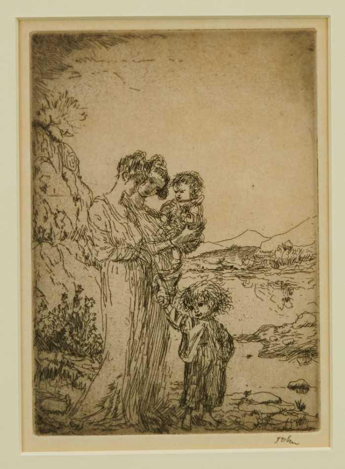 Lot 1772 - *Augustus John (1878-1961) signed etching - Rambling by the Lake, 24/50
