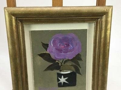 Lot 1775 - *Mary Fedden (1915-2012) oil on board - Lilac Rose, signed and dated 1990,  20cm x 16cm, in glazed gilt frame  Provenance: Thompson's Gallery, London