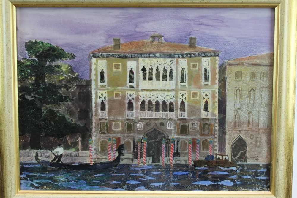 Lot 1764 - *Glyn Morgan (1926-2015) mixed media and collage - The Cavalli Franchetti  Palace, Venice, signed and dated '99, in glazed gilt frame