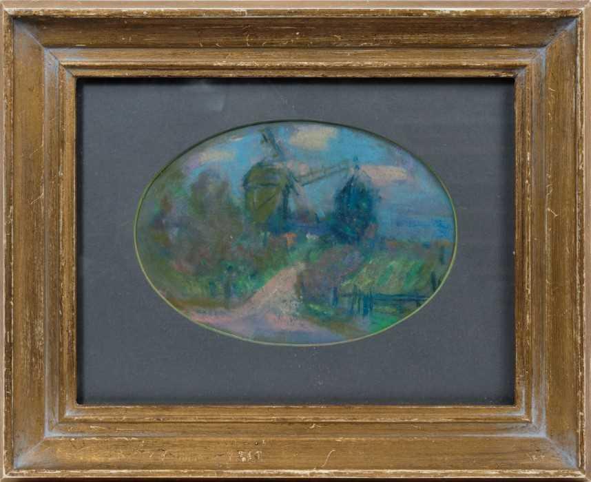 Lot 1733 - *Peggy Somerville (1918-1975) pastel - The Mill at Westleton, in glazed gilt  frame  Provenance: David Messum