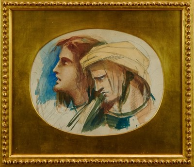 Lot 1762 - Louisa Anne, Marchioness of Waterford (1818-1891) watercolour – Saul  and David, in glazed gilt frame, labels verso  Provenance: Chris Beetles Gallery