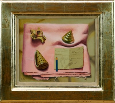 Lot 1765 - *Saul Robertson (b.1978) oil on linen - The Presence of Absence, initialled,  in glazed frame  Provenance: Thompson's Aldeburgh