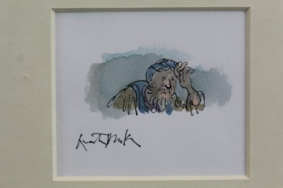 Lot 1786 - *Quentin Blake (b.1932) pen, ink and watercolour - Woeful Man, signed, in  glazed gilt frame  Provenance: Chris Beetles Gallery, London