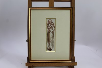 Lot 1761 - Louisa Anne, Marchioness of Waterford (1818-1891) monochrome  watercolour - Gathering Wood, together with another - Madonna and Child,  in glazed gilt frames  Provenance: Chris Beetles Gallery