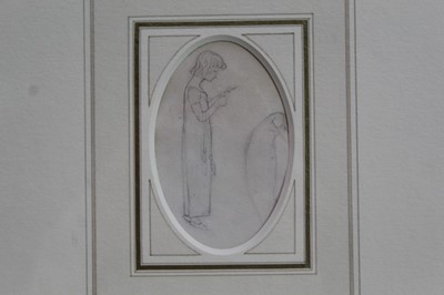 Lot 1760 - Kate Greenaway (1846-1901) pencil drawing - a girl in nightdress, in glazed  gilt frame  Provenance: Chris Beetles Gallery, London