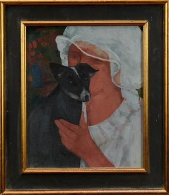 Lot 1756 - Duffy Ayers (1915-2017) oil on board - Girl with Dog, framed  Provenance: Langham Fine Art