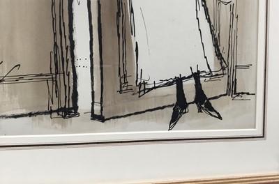 Lot 1844 - *Ronald Searle (1920-2011) pen, ink and monochrome watercolour – Imaginary Portraits: Ivy Compton-Burnett, signed, in glazed gilt frame  Provenance: Chris Beetles Ltd., London