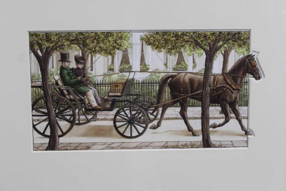Lot 1767 - Jane Johnson (b.1951) watercolour - 'Miss Potter's on her way', in glazed  gilt frame  Provenance: Chris Beetles Gallery