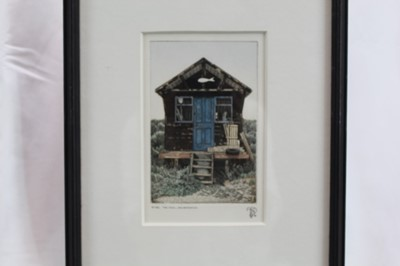Lot 1789 - Anthony Dawson two signed limited edition etchings - The Fish, Walberswick  and Tanks, Aldeburgh Beach, in glazed frames