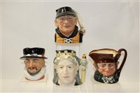Lot 1005 - Four Royal Doulton character jugs - Queen...