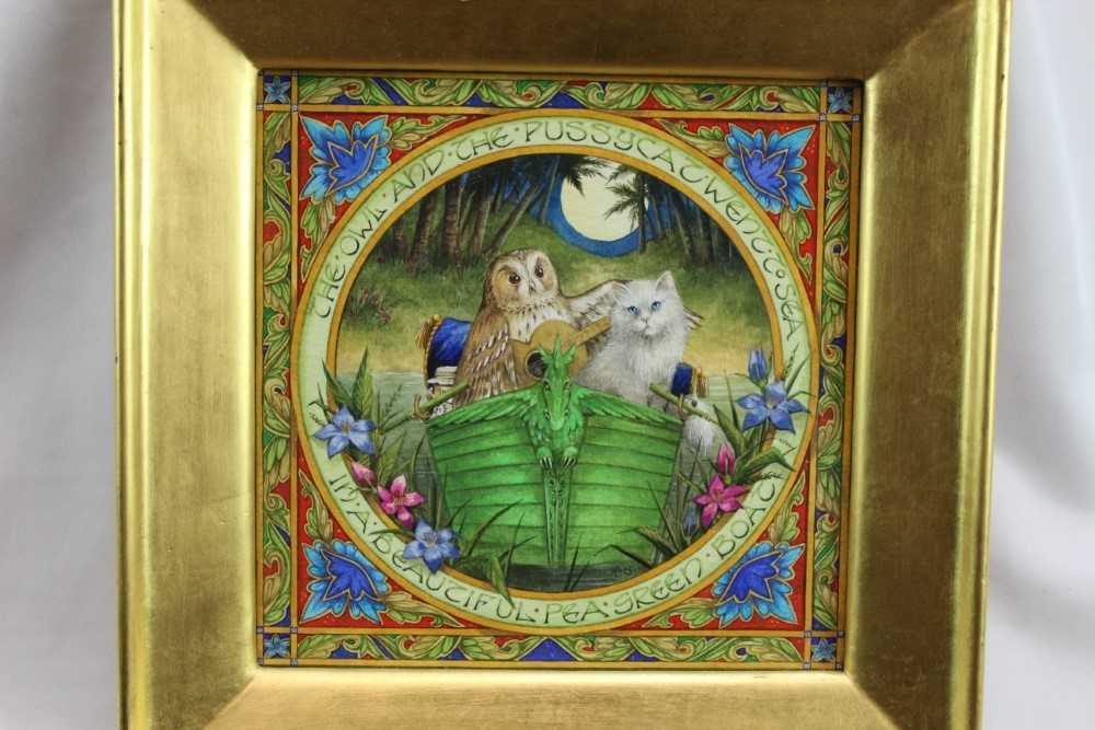Lot 1787 - Debby Faulkner-Stevens (b. 1954) watercolour - 'The Owl and the Pussycat went to sea in a beautiful pea green boat', initialled and dated '03, in glazed gilt frame  Provenance:  Chris Beetles Lrd,...