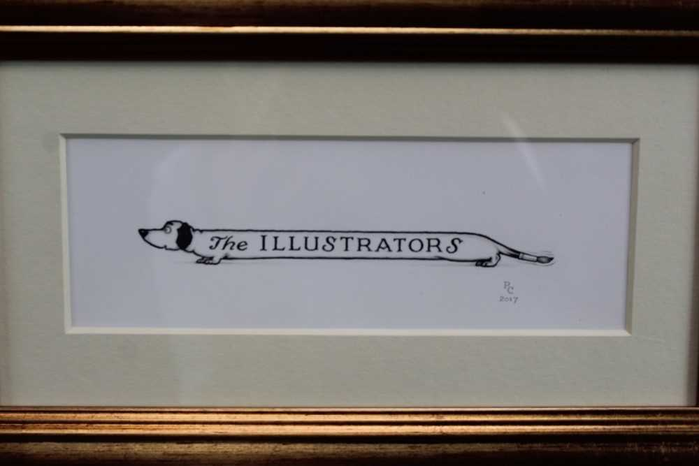 Lot 1778 - *Peter Cross (b. 1951) pen and ink - The Illustrators, initialled and dated 2017, in glazed gilt frame  Provenance:  Chris Beetles Ltd, London