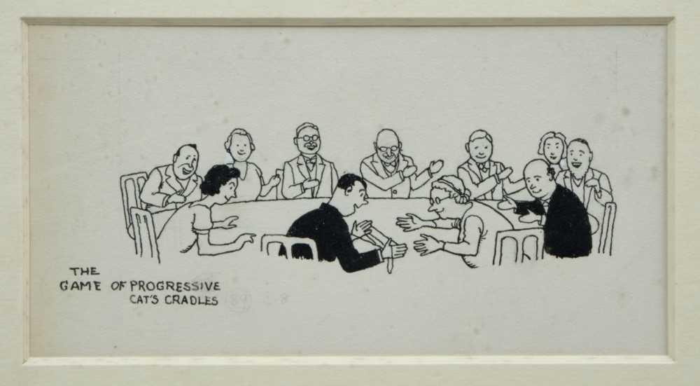 Lot 1825 - William Heath Robinson (1872-1944), pen and ink illustration - The Game of Progressive Cat's Cradles, titled, in glazed gilt frame  Provenance:  Chris Beetles Ltd, London