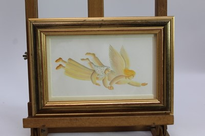 Lot 1848 - Amanda Hall (b. 1956) coloured chalk on paper entitled 'And, with that, Ely took Ariella by the hand and whisked her away to hell', in glazed gilt frame 12cm x 21cm and three other