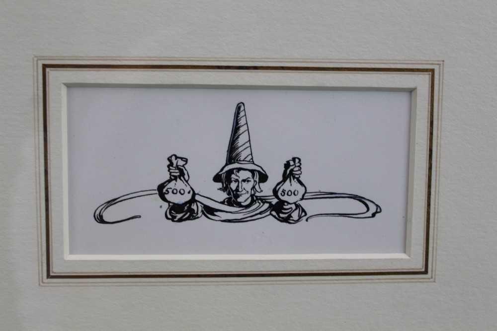 Lot 1779 - Margaret Tarrant (1888-1959) pen and ink illustration - The Pied Piper with Money Bags, in glazed gilt frame  Provenance:  Chris Beetles Ltd, London