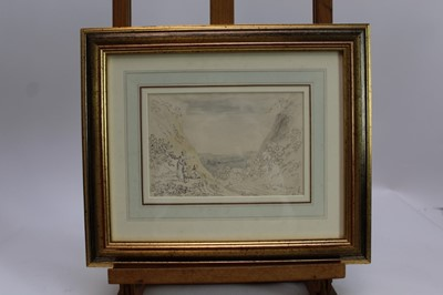 Lot 1731 - Anthony Devis (1729-1816) pen, ink and watercolour - Through the Mountain Pass, in glazed gilt frame  Provenance:  Chris Beetles Ltd, London