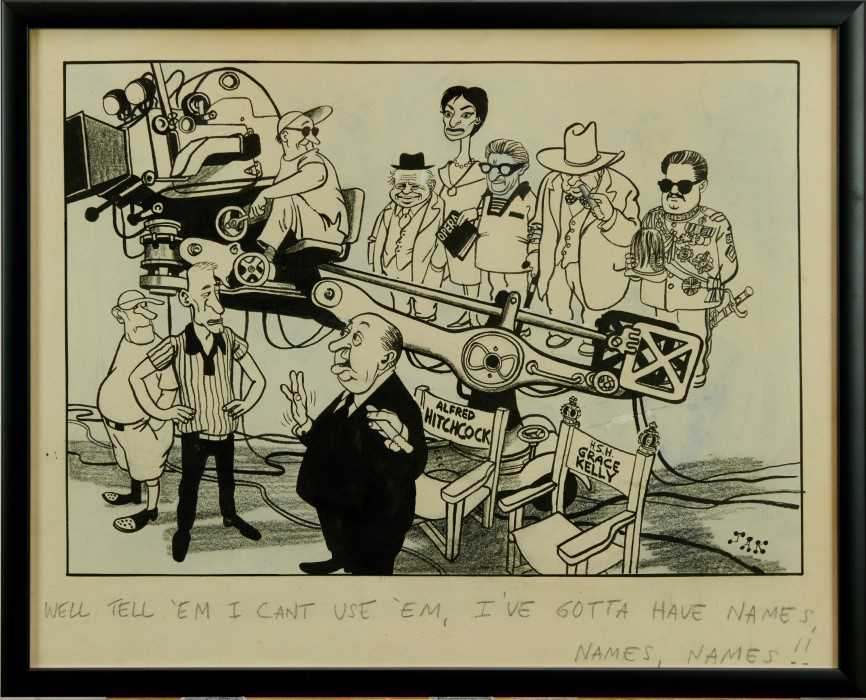 Lot 1818 - Jak, Raymond Allen Jackson (1927-1997) pen, ink and watercolour cartoon - 'Well Tell 'Em I Can't Use 'Em, I've Gotta Have Names, Names, Names!!', signed and titled