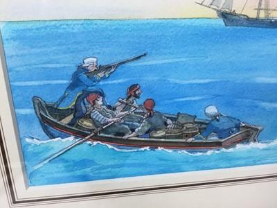 Lot 1882 - Michael Foreman (b. 1938) pencil and watercolour - 'The Squire raised his Gun, Treasure Island, in glazed gilt frame  Provenance:  Chris Beetles Ltd, London