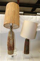 Lot 1009 - Two Bernard Rooke studio pottery table lamps