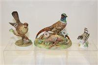 Lot 1025 - Three Crown Staffordshire models - Pheasants,...