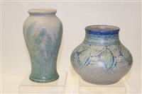 Lot 1034 - Royal Lancastrian vase with blue and green...