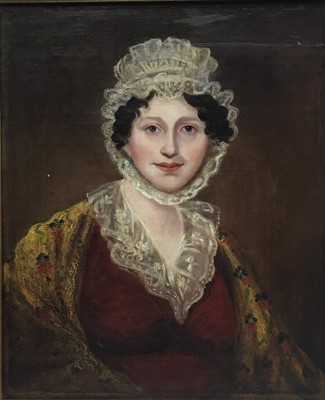 Lot 65 - Victorian School, oil on canvas laid down onto board,, half length portrait of a lady in lace bonnet