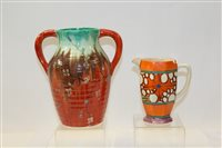 Lot 1042 - Clarice Cliff Fantasque hand-painted jug,...