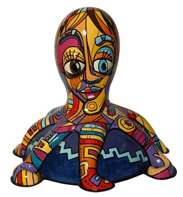 Lot 14 - Picass-o-pus by Jenny Leonard – Cubist-inspired design with bold colours and large shapes