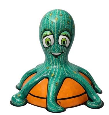 Lot 18 - Cactopus! by Jenny Leonard – Bright green cactus character on orange plant pot